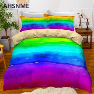 AHSNME Rainbow Duvet Cover Set Bright Colorful Literie Set Taie d'oreiller pour lit Adultes Enfants Automne Quilt Cover
