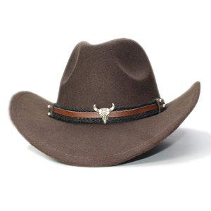 Retro annata dei bambini del capretto di lana Tesa larga da cowboy occidentale Cowgirl Hat Fedora Bowler Cap Bull capo Oxhead Braid Band (54 centimetri / Regolazione)