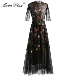 MoaaYina Fashion Runway dress Spring Summer Women's Dress Short sleeve Mesh Floral Embroidery Vintage Dresses