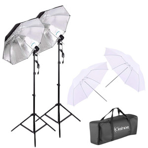 Lampadina Fotografia doppio Photo Umbrella Lighting Video Kit Umbrella Reflector Foto Luce Alto Studio dell'ombrello luce stroboscopica Flash stand (nero /