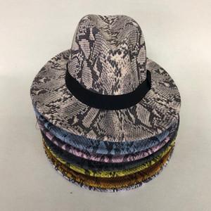 ZJBECHAHMU modo caldo Lana Feltro Cappelli Floppy Brim largo della pelle Fedora per le donne serpente a strisce banda protezione di jazz Winter Lady cappello di Panama