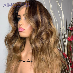 Short Wig Honey Blonde Lace Front Wigs 4 27 Water Wave Wig 13*6 Deep Part Ombre Blonde Lace Front Human Hair Baby Hair 130