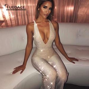 Fuedage Glitter Spaghetti Strap Pagliaccetti Womens Tuta Backless Sexy senza maniche Tute Skinny per le donne 2019 Tuta