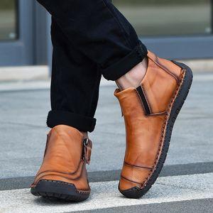 Venda-Nova Hot Design Os homens Botas Casual Masculino exterior Cow Leather Ankle Sapatinho Tamanho Grande Bota