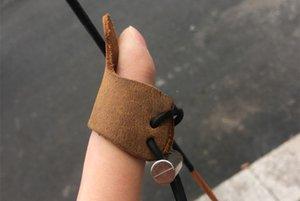 Una protezione della pelle bovina un solo dito guardia antiusura Guanti di sicurezza tiro con l'arco per il tiro di caccia Accessori Strumenti regolabile