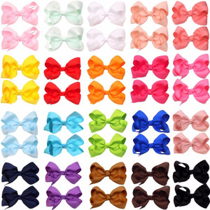 40pcs 3 Inch Baby Girl Solid Ribbon Hair Bows Alligator Clips for Toddlers Kids Children Fashion Hair Accessories Free Drop Shipping