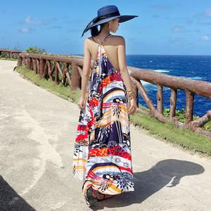 Lu Back Beach Saia Mar Vacation vento Sling Vestido saia longa soltas magros Tailândia Roupa Viagem