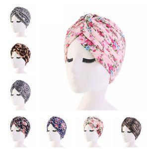 Mode Frauen Blumendruck Turban Baumwolle Blume Hut Bandana Schal Krebs Chemo Beanies Headwrap Caps Schlafmütze Haarschmuck TTA1786