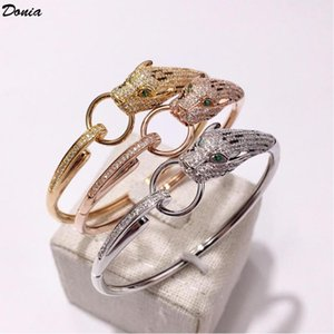 Jewelry Fashion European and American Style Animal Bracelet Copper Inlaid Zircon Bracelet Ring Leopard