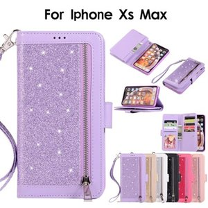 Multifunction Sparkle Leather Wallet Case For Iphone 11 Pro XS MAX XR X 10 8 7 6 Zipper ID Card Slot Bling Glitter Sparkly Luxury Cover