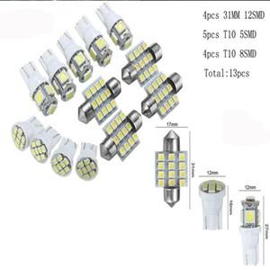 13pcs Auto-Weiß-LED-Innenbeleuchtung Kit 31mm Festoon T10 5SMD 8SMD Kit Auto-Birnen-Kit Dome Kfz-Kennzeichen