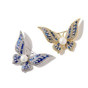 Moda Design Mulheres Pins Butterfly Broche Estilo de Luxo Pérola e Fantasia Diamantes Coloridos Material Broches Mulheres Acessórios De Jóias