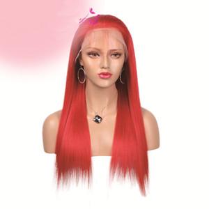 Peluca llena del cordón del pelo humano rojo sedoso pelucas del frente del cordón de Glueless Recto largo shippping libre Peluca del pelo de la Virgen