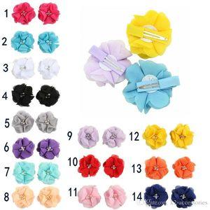 Pearl Rhinestone Merkezi Yapay Çiçek Kumaş Çiçek Çocuk Saç Takı Bebek Bantlar Çiçek ile 2018 14colors şifon Çiçek