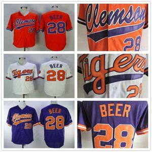 Wholesale Mens Clemson Tigers Seth Beer College Baseball Jerseys Cheap White Orange Purple 28 Seth Beer University Stitched Shirt