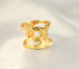 Para las mujeres la moda de la muchacha libre del envío de la marca de la venta caliente Size7 / 8 oro verdadero plateado Marca cóctel Cluster Anillos Anillo Carta