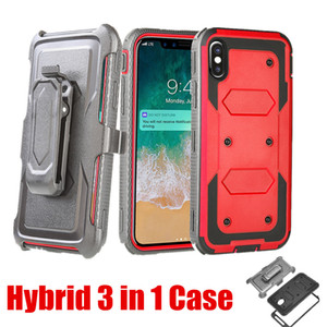 Für iPhone XS Max Hüllen Hybird 3 in 1 Defender Case mit Clip vorne Schutzscheibe TPU PC Stoß- Abdeckung für iPhone 7 8 XS
