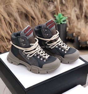 Grey Leather Martin Boots Men Shoes Women Ankle Boot Luxury Designer Trainers Fashion Boots High Top Sneakers Thick Bottoms Shoe