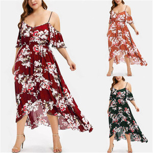 Designer Women New Dress Floral Print Elasticated High Waist Dress Summer Fashion Bohemia Suspenders Casual Dress Plus Size