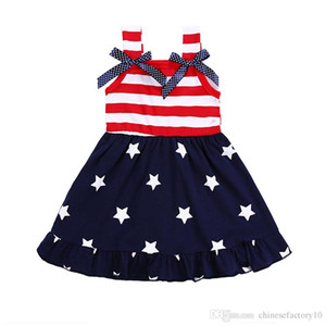 American Flag 4th of July Dress Girls Bowknot Striped Dress Summer Children Star Baby Vest Princess Dress 2019