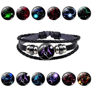 Trasporto del commercio all'ingrosso luminoso della costellazione dodici gemme in rilievo in pelle corda brillante regalo del braccialetto di modo Retro Compleanno
