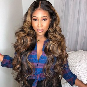 Human Hair Wigs Long Preplucke Ombre Lace Front Human Hair Wig Natural Jet Black Loose Curly Lace Wigs Highlight Honey Blonde