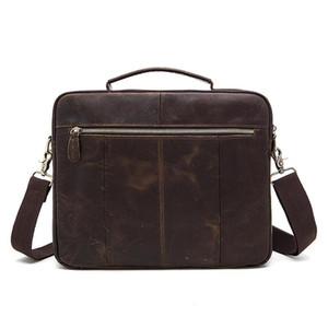 Designer-Leder Business Men Aktentasche Crazy Horse-Kuh-Leder-Umhängetasche Vintage-Männer Messenger Bag Retro Handtaschetotes- Männlich
