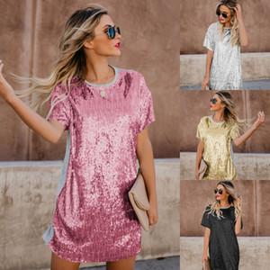Yeni Avrupa Moda kadın Sequins Tişört Elbise Lady Sequins Patchwork Kısa Kollu Casual Elbise C4154 Tops
