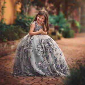 Lutin filles Pageant Robes 3D dentelle robe de bal enfant en bas âge Appliques robe de demoiselle longueur de plancher Robes perlée première communion