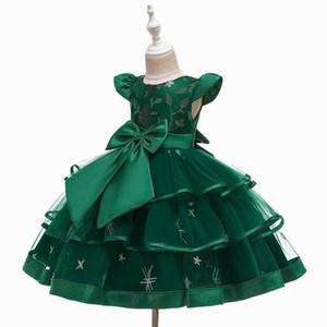 수 놓은 소녀 파티 드레스 웨딩 베이비 의류 2-10Y E5707 2020 여름 계층 무성한 명주 나비 꽃 소녀 드레스