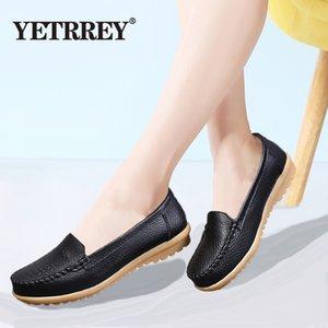 YETRREG 2019 новые женские плоские туфли из мягкой натуральной кожи Женская обувь модные мокасины осень повседневная большой размер 36-41