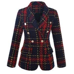 2019 Europe et Amérique carreaux de haute qualité armure laine grossière veste à double boutonnage (rouge et noir p'la'id)