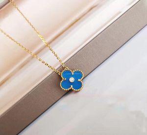 2019 Moda Takı Dört Yaprak Çiçek Kolye Dört Yaprak Çiçek Mavi Akik 925 Gümüş Kolye Elmas Toka