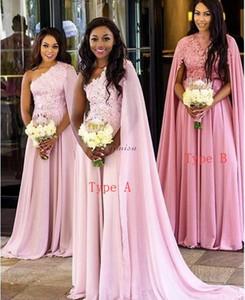 2020 Vestidos de dama de honor rosados de gasa apliques de gasa Dos tipos de tipo Sweep Train Country Garden Beach Wedding Gown Gows Maid of Honor Vestido