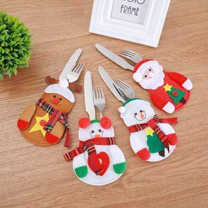 Decorazioni natalizie per stoviglie Cover Santa Snowman Shape Fork Knife Wrap Cover Bag per set da tavola decorativo XD21071