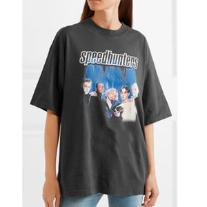 18FW Moda Speedhunters articulou faixa T-shirt escuro Fashion Street Grey manga curta Homens e mulheres casal Tide Tee HFSSTX082