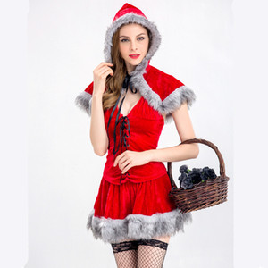 Christmas Costumes adult Little Red Riding Hood cosplay costume Fairy Tale Storybook Party Dress+hooded cloak halloween women