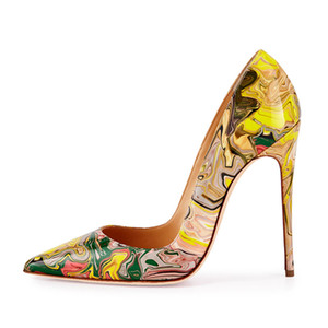 Femmes 12cm Talons hauts Mode Sexy Escarpins Chaussures Dames Graffiti Cuir Verni Talons Hauts Bouche Peu Profonde Bouche Glisser Sur Lazy Chaussures Grande Taille