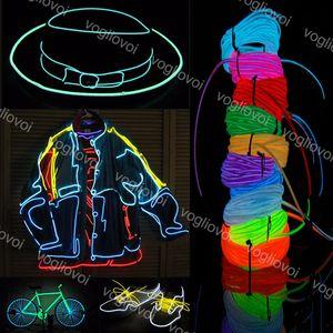 Светодиодный неоновый знак EL Wire DC3V гибкий многоцветный 3M изменчиво для автомобильного танцевального вечеринка сцена реквизит полоса светового рождественского праздника DHL