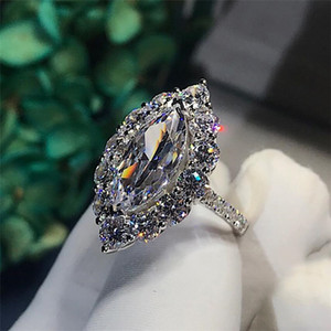 Brand New Vintage Jewelry Sparkling Luxury Jewelry 925 Sterling Silver Marquise Cut White Topaz CZ Diamond Gemstones Women Wedding Band Ring