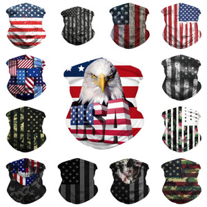 American Flag Impresso Headband Bandana Multifunctional Bandana Caminhadas Scarf Ciclismo Headband Seamless Máscara Facial Desporto Tubo Anel Scarf