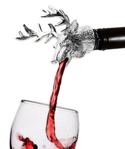 Métal Cerf Stag Head Verseur De Vin Unique Bouchons De Bouteille De Vin Aérateurs De Vin Bar