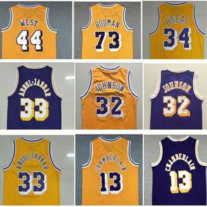 Best Sports Shirts Weinlese # 73 Dennis Rodman Jersey # 33 Abdul Jabbar Jerseys Shaquille 34 # O'neal Jersey 44 # Jerry West Wilt Chamberlain 13 #