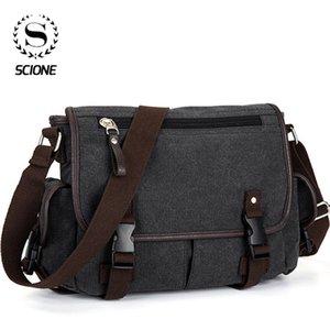 SCIONE Men's Vintage Canvas Messenger Bag Causal Patchwork Multi-function Briefcases Shoulder Bag Travel Crossbody Bags For Men