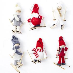 Mini Noël en peluche Poupée Arbre de Noël Pendentif Figurine Père Noël Décorations de ski en bois Toy Doll Décoration de Noël Hôtel WX9-1754