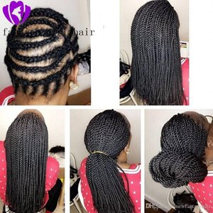 L Synthetic Braided Lace Front Wigs For Black Women 1b Heat Resistant 28 Inch Hair Braid Wigs Premium Braided Twist Braids Wig