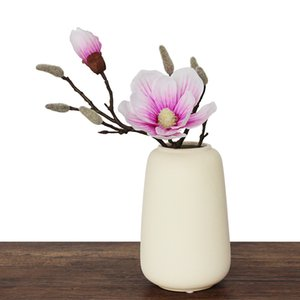 INDIGO-Real Touch Pink Magnolia Short Mangnolia Decorative Artificial Flower Office Table Flower Home Decoration Living Room