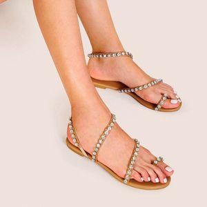 Kız Lady Rhinestone Gümüş Düz Gladyatör Sandalet Kadın Ayakkabı Sandal Ücretsiz Gemi Bohemian Sandal Plaj Çar Boncuklu Yalınayak Yeni Tasarım