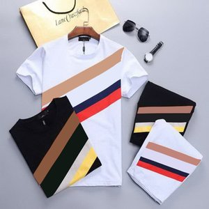 Trendy Letters Fashion Men's Summer Short Tracksuits Printed Contract Color T-Shirts and Summer Beach Shorts Holiday Style