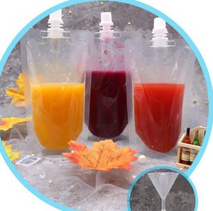 Drink Pouches Bags Soya milk juice drink suction mouth stand - on bag Translucent Stand-Up Drinking Bag Pouches Bags KKA7872
